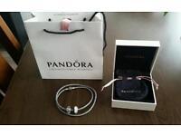 genuine pandora triple woven grey leather bracelet