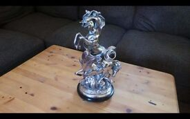 Very Decorative Silver Plated Group Of Three Prancing Horses By Ottaviani