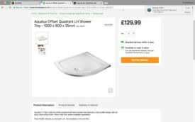 New Aqualux Offset Quadrant LH Shower Tray