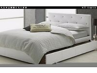A white small double bed frame