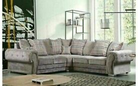 BRAND NEW VERONA CHESTERFIELD GREY PLUSH FABRIC CORNER SOFA SUITE OR 3+2 SETTEE ON SALE