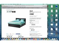 King Bed frame with 4 storage boxes Black