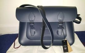 Cambridge satchel company, navy, new, unisex, magnetic closure, 14 inch wide; RRP £155