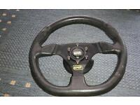 Omp flat bottom steering wheel Ford boss excellent condition fiesta escorts Sierra etc xr3 xr2 xr4