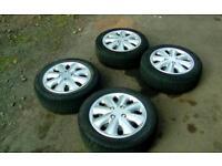 R15 5 stud citreon Peugeot Renault steel wheels - gd tyres - trims