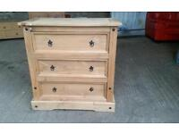 Corona Mexican Pine 3 Drawer Chest of Drawers