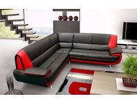 KAROOL 3 and 2 SEATER LEATHER SOFA BLACK RED WHITE BROWN Hidalgo