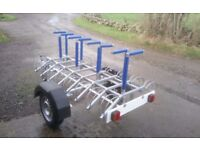 8 BIKE TRAILER, brand new galvanised chassis, suspension, wheels, tyres, coupling and lights