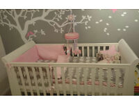 3 Piece Cot Bed Bedding with changing mat