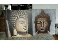 3 x large budda canvas pictures