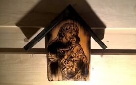 icon handmade wood woodcarving gift 35 cm