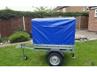 Car trailer New Brenderup 1150s with high cover.