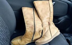 PIKOLINOS Womens calf length Tan Real soft Leather Boots size 5 Eu 38 size 5