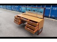 Vintage Teak Dressing Table-Danish Style Sleigh Legs-Good Condition -DELIVERY