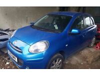 Nissan Micra 2011, blue, white, 5 doors, petrol, manual Breaking for parts