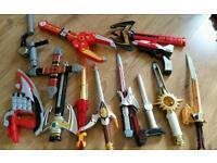 A range of Power Ranger toys