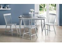 *FAST & FREE UK DELIVERY* Brand New Scandinavian Solid Wood Lunar Grey Dining Table Set with 4 Chair