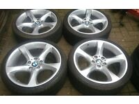 "GENUINE 19"" BMW STYLE 230 ALLOY WHEELS E90 F30 F31 7MM VREDESTEIN WINTER TYRES NO CRACKS REPAIRS"
