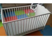 Ikea white wooden cot with mattress