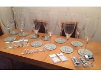 Wedding table centrepieces Giant champagne glasses, Mirror plates, Lights, Mr & Mrs