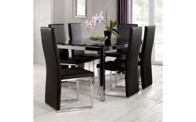 *FAST & FREE UK DELIVERY* Brand New High Quality Black Glass Dining Table Set with 6 Leather Chairs