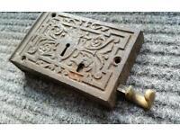 Victorian cast iron ornate lock