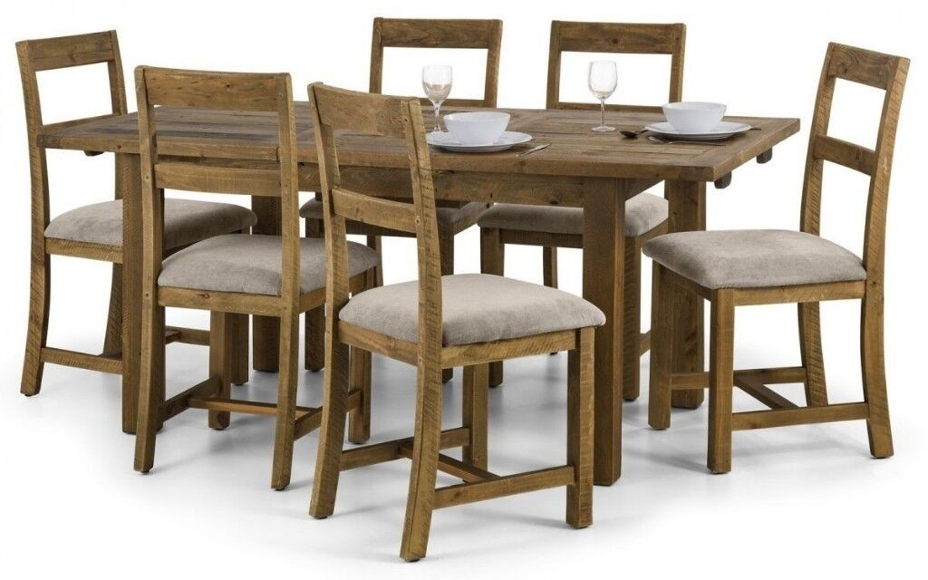 FAST FREE UK DELIVERY Brand New Classic Rusted Solid Pine Wood Dining Table Set Fabric Chairs