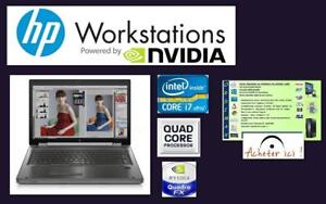 ***Laptop Professionnel  HP 8770W Workstation INTEL I7 QuadCore 8 Theread/16GBRAM/Vdeo NVIDIA Quadro 4GB  514-522-8886
