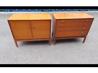Vintage Greaves & Thomas Teak Chest of 4 Drawers and Cocktail Cabinet