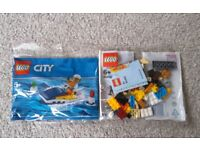 2 New Sealed Lego City Race Boat 30363 & Youth Day Kids 40402 Polybags Brick Built Figure Skate Poly