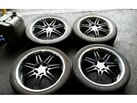 "Wolfrace 18"" Alloy wheels and Tyres 5x114.3 5x100, Honda, toyota, evo, type r, Astra vectra,"