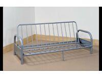 Three seater futon metal frame and mattress