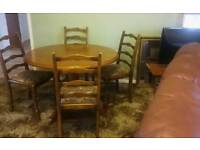 For sale Solid wood table + chairs