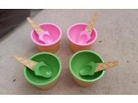 Ice cream bowls home house stuff set