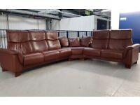 Ekornes Stressless Large Corner recliner Sofa settee Brown Leather