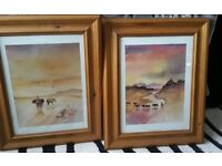 Beautiful set of 2 African wildlife pictures, solid wooden frames