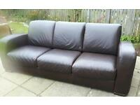 Fab brown retro look leather sofa