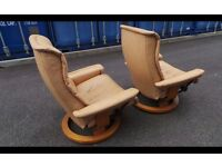 Two Brown Leather Ekornes Stressless Swivel And Reclining Armchairs, ,Can Deliver
