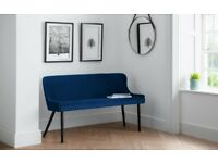 Julian Bowen Luxe High Back Bench Blue Velvet Can Deliver