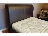 Double leather sleigh bed frame