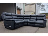 Lazboy corner black leather recliner sofa DELIVERY AVAILABLE
