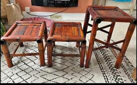 Dyed bamboo tables