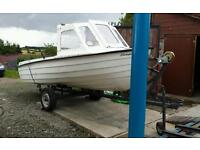 15 ft leisure fishing boat, comes with trailer and outboard engine