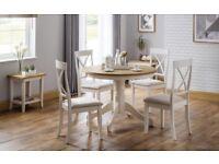 Davenport/ eversham round oak ivory table +4 chairs.