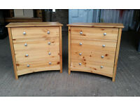 Pair of Solid Pine Chest of Drawers