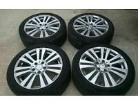 "17"" GENUINE MERCEDES C/E CLASS ALLOY WHEELS & GOOD 7MM TYRES (MERCEDES /AUDI/VW/SKODA ETC)"