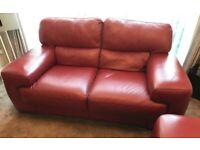 Burgundy Italian leather 3 and 2 seater Sofa for sale
