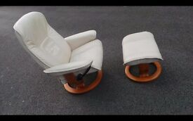 Ekornes Stressless Cream Leather Swiveling Reclining Armchair&Footstool,Can Deliver