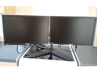 Dual monitor stand with two Samsung S19E200 LCD screens