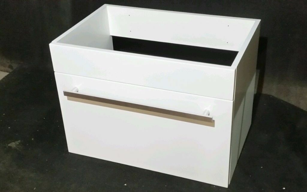 New Odessa White Wall Hung 600 Drawer Vanity Unit Bathroom Furniture Cabinet
